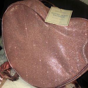 Pottery barn pink heart glitter backpack